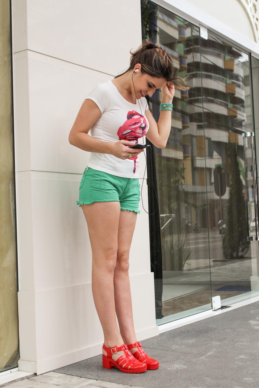 shorts verde jeans