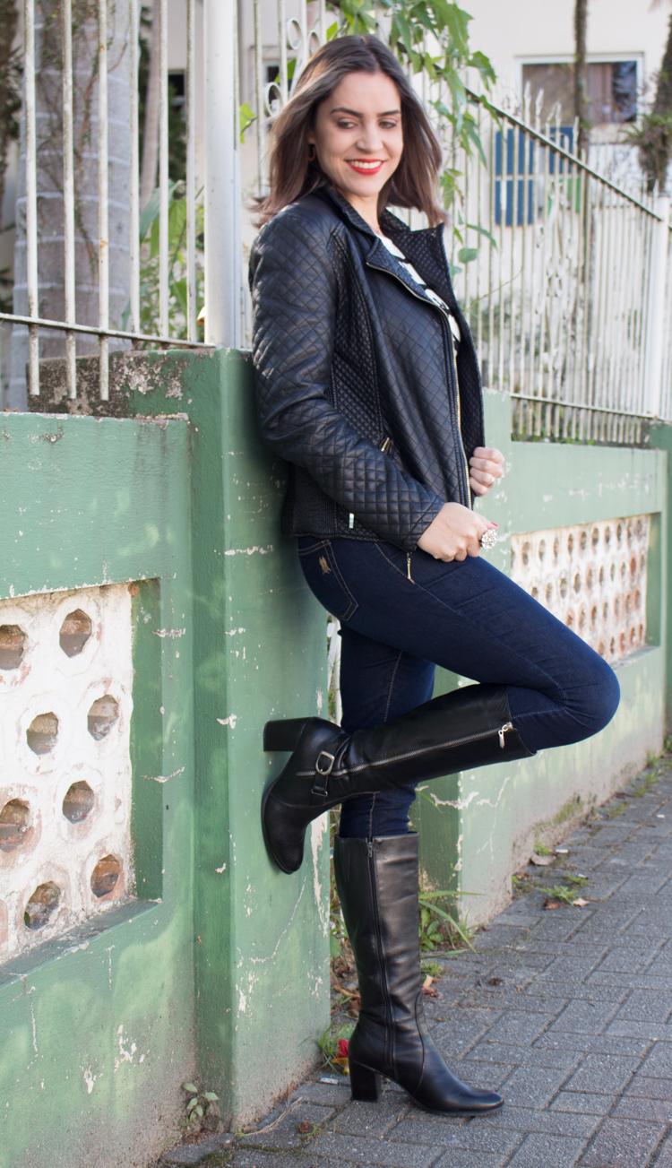 Look Jaqueta de couro black