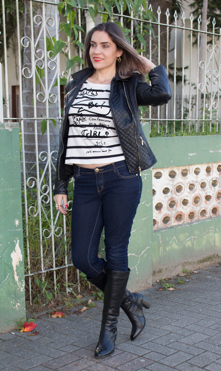 look black jaqueta e bota de couro