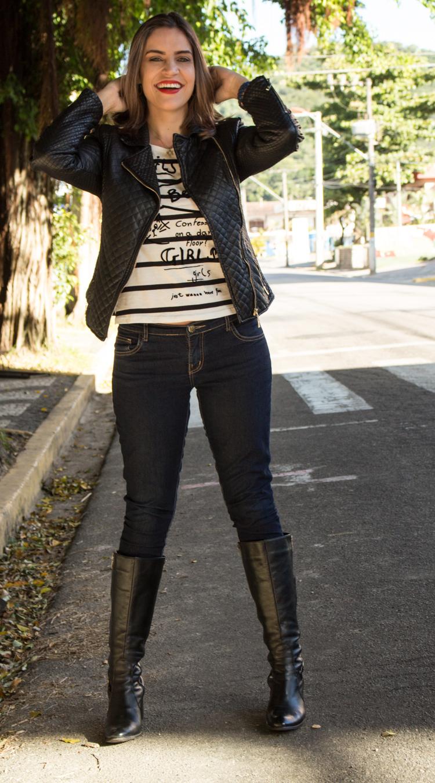 Look Jaqueta e bota de couro black