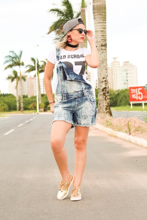 Jardineira Jeans look